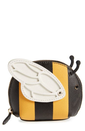Women's Kate Spade New York Picnic Perfect Bee Stripe Leather Coin Purse - Yellow