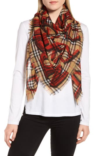 Burberry Marker Text Check Print Wool & Silk Scarf