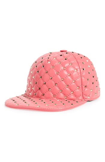 Women's Valentino Rockstud Spike Leather Baseball Cap - Pink