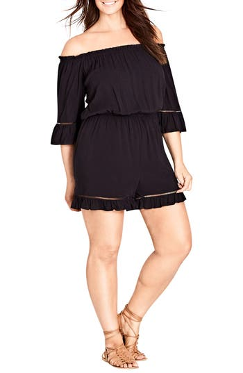 Plus Size Womens City Chic Off The Shoulder Romper Size Small  Black