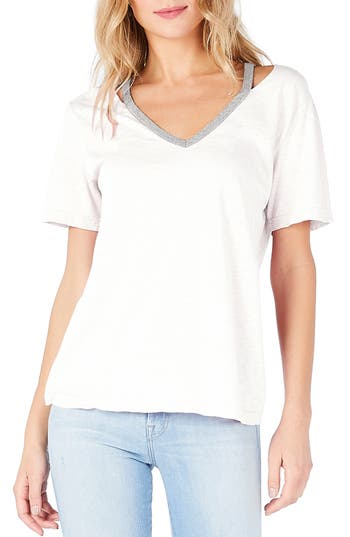 Michael Stars Cutout V-Neck Tee, Size One Size - White