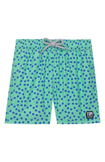 Boys Tom  Teddy Sunglasses Print Swim Trunks Size 56Y  Green