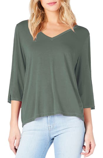 Michael Stars Slit Sleeve V-Neck Tee, Size One Size - Green