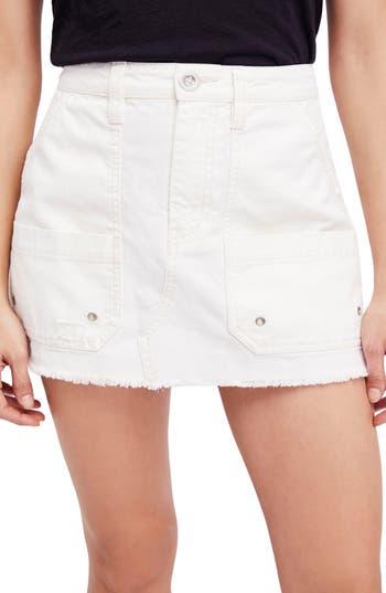 Free People Canvas Miniskirt, Ivory