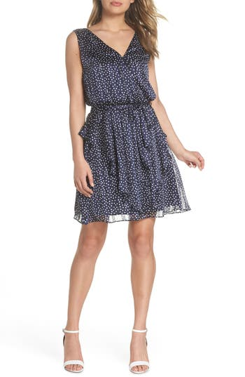 19 cooper female womens 19 cooper surplus polka dot tie waist chiffon dress size large blue