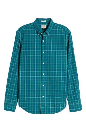 J.crew Slim Fit Stretch Secret Wash Plaid Sport Shirt, Blue/green