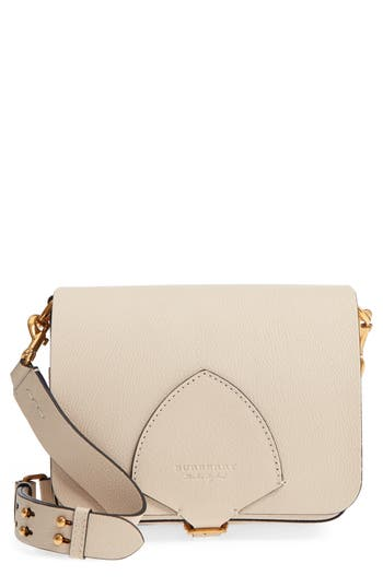 Burberry Square Leather Satchel - Beige