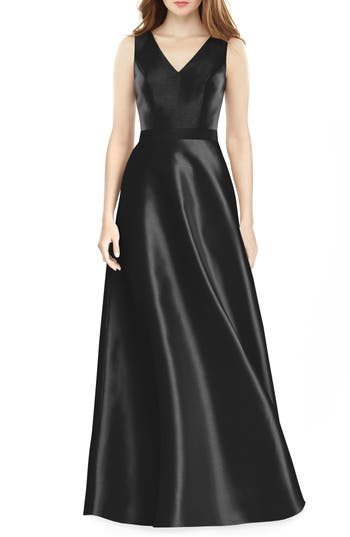 Alfred Sung Sleeveless Sateen Gown, Black