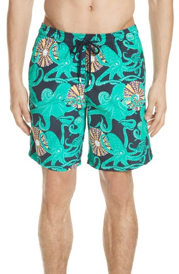 Vilebrequin Octopus & Shellfish Print Swim Trunks, Blue