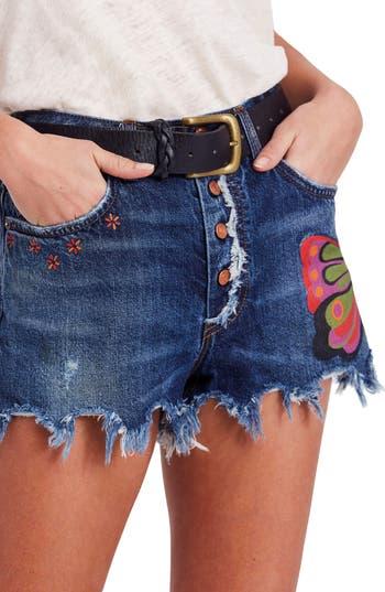 Womens Free People Fields Of Sun Denim Shorts Size 25  Blue