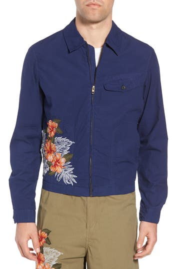 men's french connection embroidered poplin harrington jacket