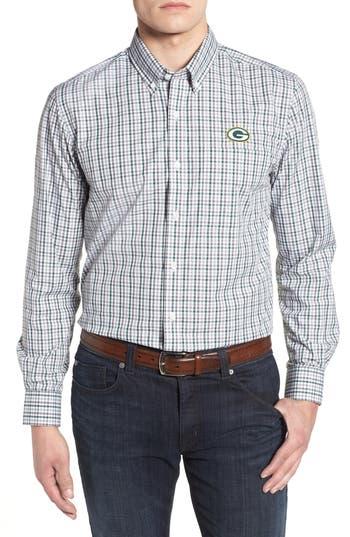 Men's Cutter & Buck Green Bay Packers - Gilman Regular Fit Plaid Sport Shirt