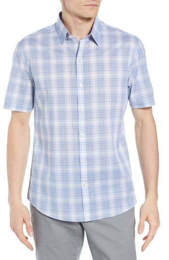 Men's Zachary Prell Regular Fit Rogel Plaid Woven Shirt