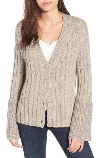 Women's Leith Cozy Ribbed Tie Cardigan, Size X-Small - Grey