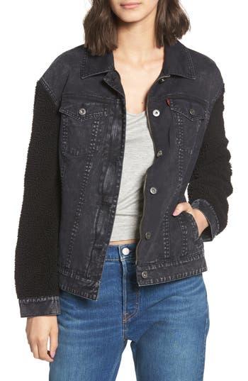 Women's Levi's Trucker Jacket With Fleece Sleeves