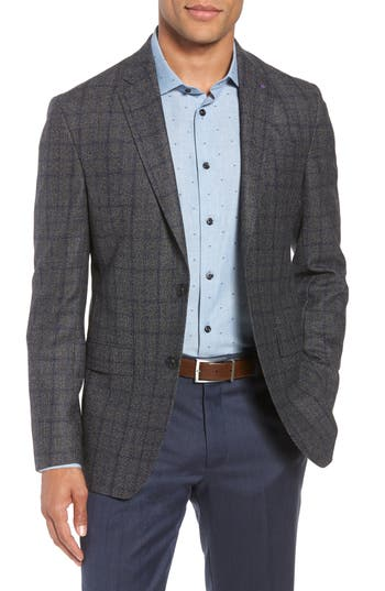 Ted Baker London Konan Trim Fit Windowpane Wool Sport Coat
