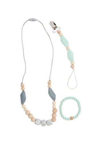 Infant Bella Tunno Mint Teething Necklace Bracelet  Pacifier Clip Set