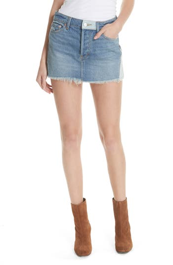Free People Patched Denim Miniskirt, Blue