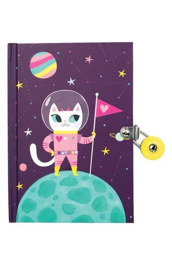 Chronicle Books Space Cat GlowInTheDark Locked Diary