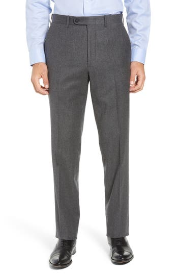 John W. Nordstrom® Torino Traditional Fit Flat Front Solid Wool & Cashmere Trousers