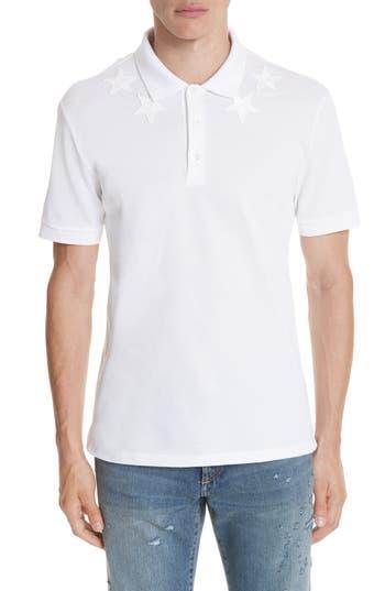Men's Givenchy Star Polo Shirt, Size Small - White