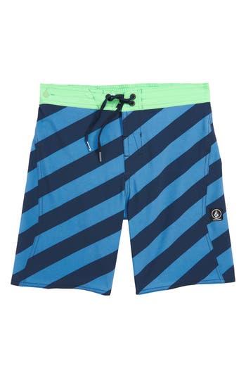 Boys Volcom Stripey Swim Trunks Size S  8  Blue