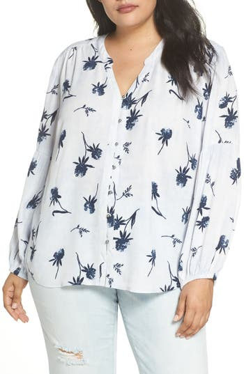 Caslon® Button-Up Patterned Top