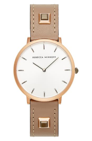 Rebecca Minkoff Major Embellished Leather Strap Watch, 35mm