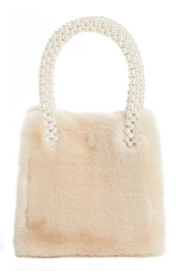 Shrimps Faux Fur Handbag with Imitation Pearl Handles