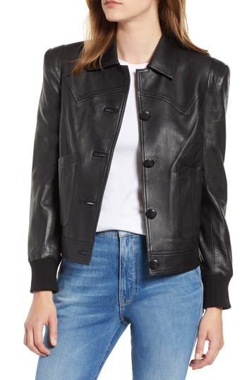 Chelsea28 Puff Shoulder Leather Jacket