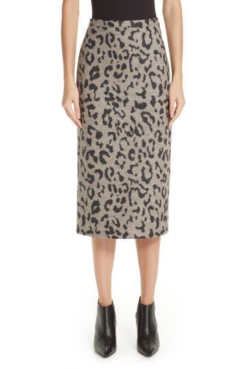 Max Mara Thomas Leopard Jacquard Wool Skirt