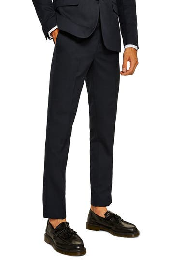 Topman Skinny Fit Textured Trousers