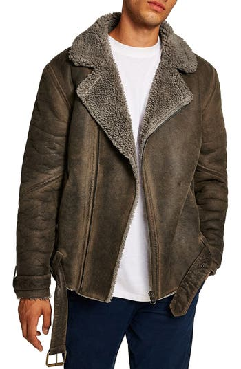 Topman Faux Shearling Trim Biker Jacket