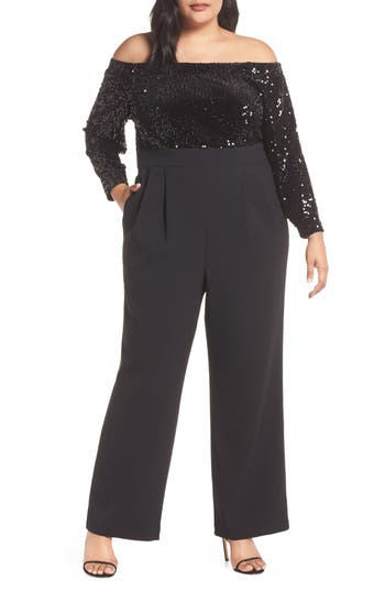 Eliza J Off the Shoulder Sequin Velvet & Crepe Jumpsuit