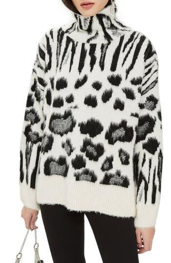 Topshop Zebra Mix Turtleneck Sweater