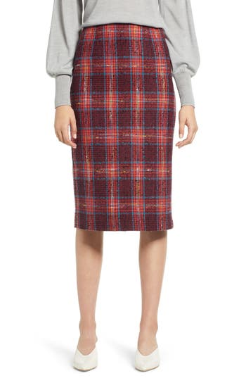 Halogen® Plaid Tweed Pencil Skirt