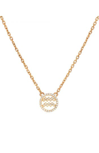 Mini Mini Jewels Halo Zodiac Sign Diamond Pendant Necklace