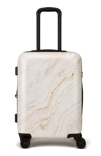 CALPAK Gold Marble 22-Inch Rolling Spinner Carry-On