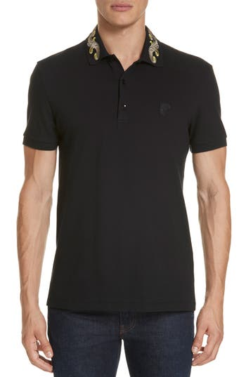 Versace Collection Baroque Collar Piqué Polo