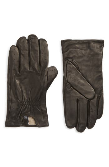 Nordstrom Men's Shop Cashmere Lined Perforated Deerskin Gloves