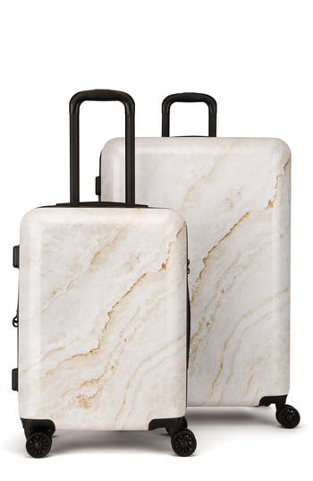 CALPAK Gold Marble 30-Inch & 22-Inch Hardshell Spinner Suitcase & Carry-On Set