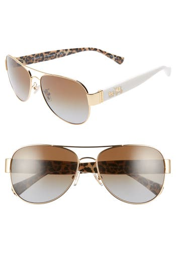 COACH 58mm Polarized Aviator Sunglasses