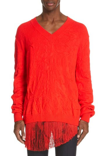 CALVIN KLEIN 205W39NYC Cable Knit V-Neck Sweater