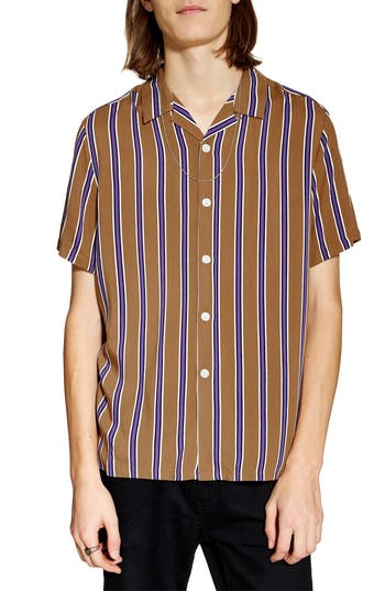 Topman Stripe Revere Collar Camp Shirt