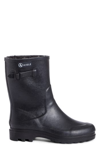 Aigle Icare Waterproof Rubber Ankle Boot with Faux Fur Lining