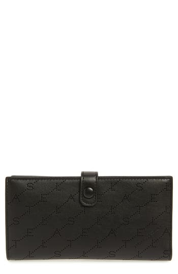 Stella McCartney Logo Perforated Faux Leather Continental Wallet