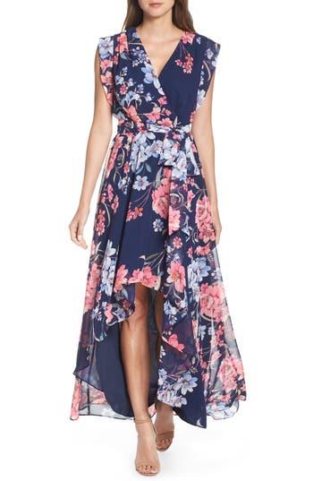 Eliza J Floral High/Low Faux Wrap Chiffon Dress