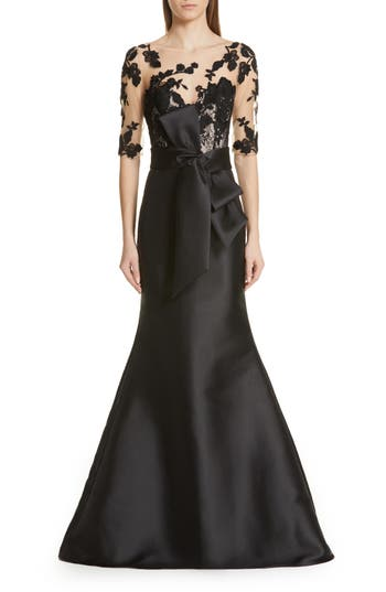 Badgley Mischka Lace Accent Bow Evening Dress