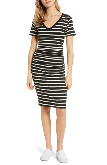 BP. Stripe Ruched Body-Con Dress