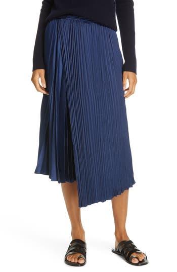 Vince Mixed Pleat Wrap Midi Skirt